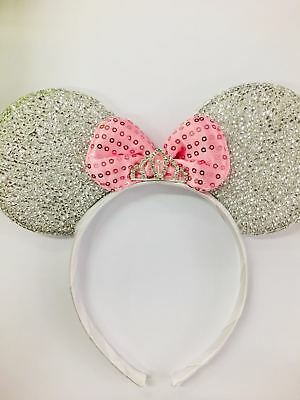 MINNIE MOUSE EARS Headband Silver Sparkle Shimmer - LARGE Red Sequin Bow Mickey