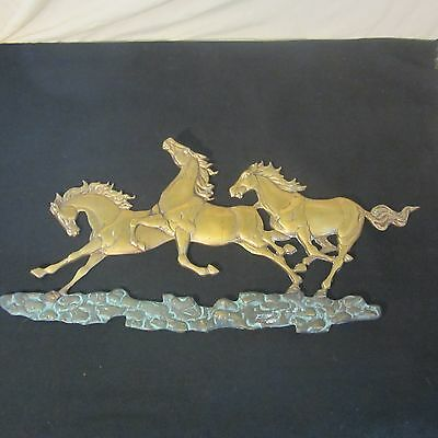 Vintage Brass Wild Horses Running Horse Wall Sculpture Hanging Stallions 26""