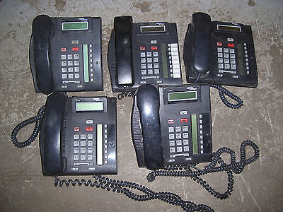 Lot of 5 Nortel T7208 Business Phones w/ handsets + 2 stands *