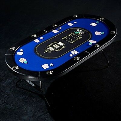 10 Player Casino Style Poker Table Fold Away With Cushioned Rails Drink Holders