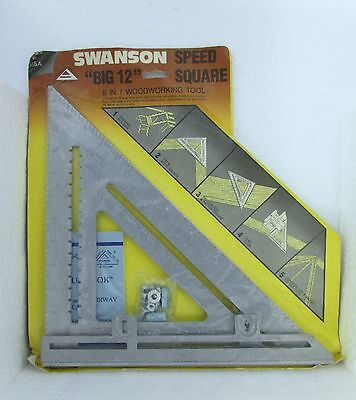 """Nos Swanson """"big 12"""" Speed Square With Layout Bar - 5 In 1 Woodworking Tool"""