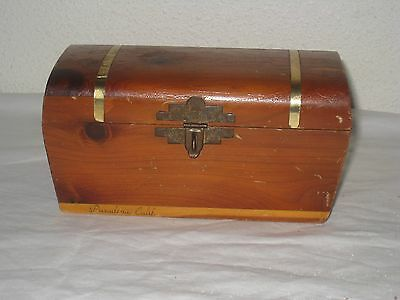 Vintage Wooden Trinket Box Shaped Like a Trunk  with Lock and keys