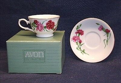 NIB-Vtg. Avon Blossoms of the Month-January-Tea Cup and Saucer/1991