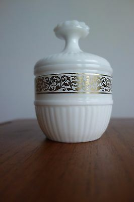 Vintage Milk Glass Candy Sweet Sugar Covered Bowl with Lid Gold Trim Ornate 13cm