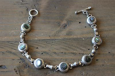 Vintage Sterling Silver Mother Of Pearl Inlay Choker Bracelet 7 inch x 9mm