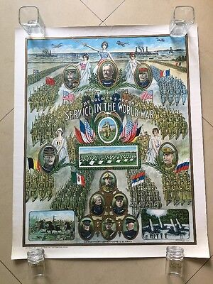 Antique The Soldier's Record Service In The World War Poster Certificate