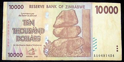 1 x Zimbabwe 10000 (10,000) dollar banknotes-rare type-paper money currency
