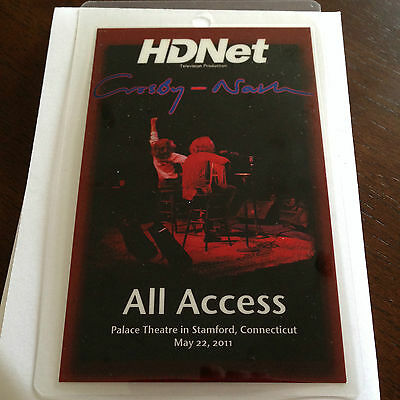 Crosby Nash All Access Backstage Pass laminate Stamford Connecticut 2011