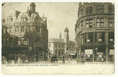 Leicester - a printed photographic postcard of the Entrance to the Market Place