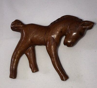 Vintage Brown Wooden Handcrafted Horse Brooch Pin Collectible Gift