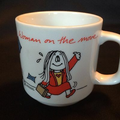 Kathy Comic Strip Woman On The Move Coffee Mug Tea Cup Girl Boss Vtg 1980s