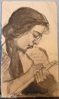 WOMAN WRITES NOTES drawing by Russian artist A.M.Gromov
