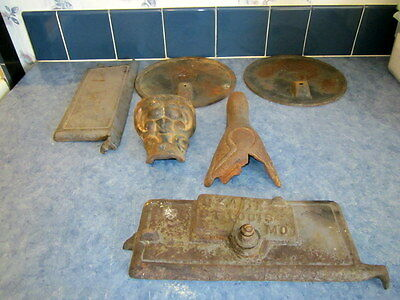 6 Antique Cast Iron Wood Stove Parts, LEGS, PLATES/LIDS, DOOR PARTS