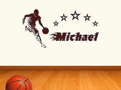 Personalised Basketball Any Name Wall Sticker Art Decor Vinyl decal Mural gift