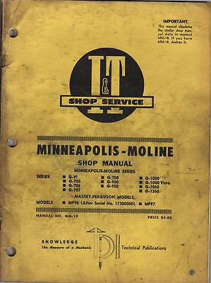 Minneapolis-Moline Series G-VI to G-1350 I&T Tractor Shop Service Repair Manual