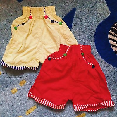 Vintage Kids 60s Deadstock Smarties Red Yellow Stripe Candy Kitsch Shorts 2-3