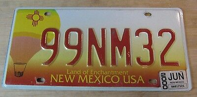 2000 New Mexico Hot Air Balloon License Plate Expired 99 Nm 32