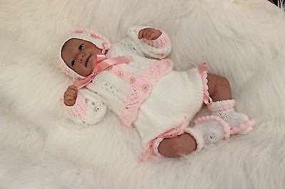 """'Karen' - Hand-Knitted Outfit for Reborn Doll approx.14"""" in length.  m4d156"""