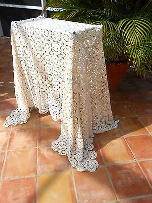 Hand Made, Vintage Bed Cover Crochet is hand-made using 100% Cotton Thread.