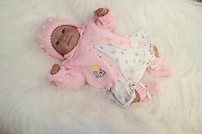"""'Helen' - Hand-Knitted Outfit for Reborn Doll approx.14"""" in length.  m4d157"""
