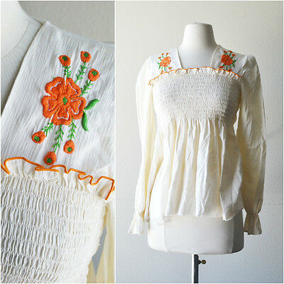 VINTAGE 60's Boho White Cotton Smocked Embroidered Mexican Blouse Top Shirt XS