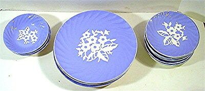 20. Pcs. Cameoware By Harker Pottery-Blue W/ White Flowers