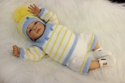 "'Luke' - Hand-Knitted Outfit for Reborn Doll approx.18"" in length.  m4d159"