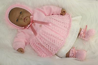 """'Daisy' - Hand-Knitted Outfit for Reborn Doll approx.22"""" in length.  m4d160"""