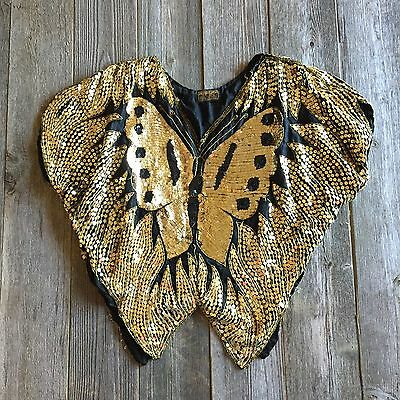 Vintage 80s Gold Black Sequin Beaded Silk Butterfly Disco Top Shirt Blouse