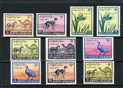 AFGHANISTAN 1961 Sc#486-495 FAUNA/FARM ANIMALS & BIRDS SET OF 10 STAMPS MNH