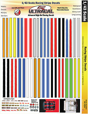 MG3204 - 1/43 Scale UltraCal High Def Decals Racing Stripes