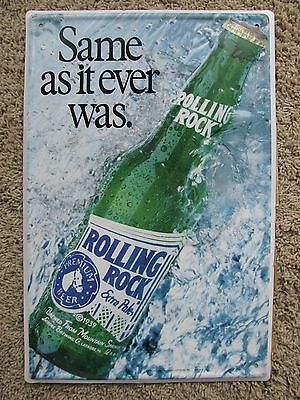 Nos Embosed Rolling Rock Beer Same As It Ever Was Latrobe Brew Co Pa Tin Sign