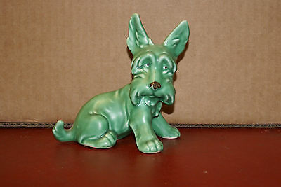 SylvaC 1414 Green Terrier Dog Figurine Repaired Tail AS IS 5in Tall