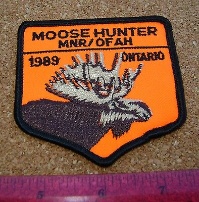 1989  RARE MNR,ONTARIO,MOOSE  Hunting Patch,Crest, [,bear,deer,elk,hunter]