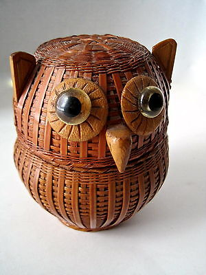 Vintage Retro Owl Wood & Wicker Lidded Basket