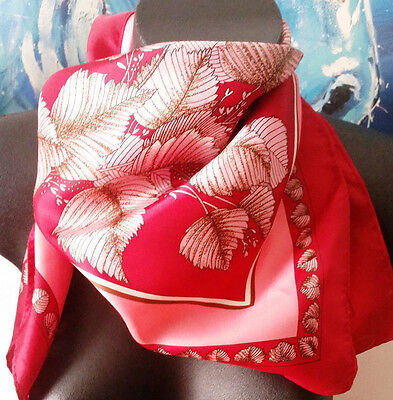 Vintage Retro Scarf - Red Floral with Pink Made in Japan Polyester Scarf