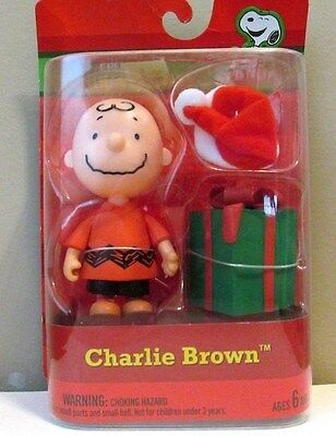 Forever Fun Peanuts Chrlie Brown Christmas Poseable Figure, Santa Hat & Gift New
