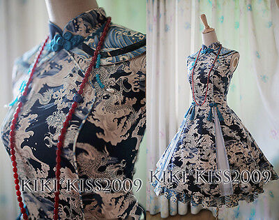 China Gothic Cheongsam Chipao Lolita Blue Dress Qing Dynasty Cosplay Custom Made