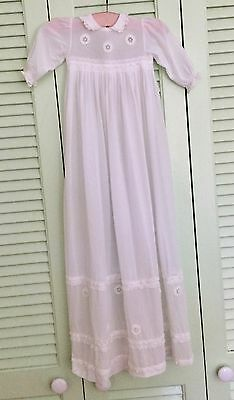 Antique baby christening gown, long baby dress, white satin or silk, doll dress