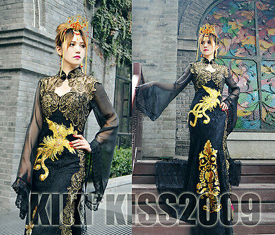 China Gothic Baroq Vintage Blacks&Gold Chipao Lace Evening Dress Handmade
