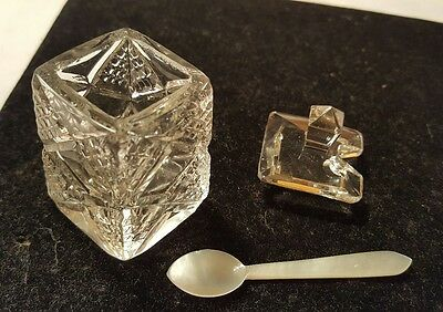 FANCY GLASS SALT CELLAR with Mother of Pearl spoon