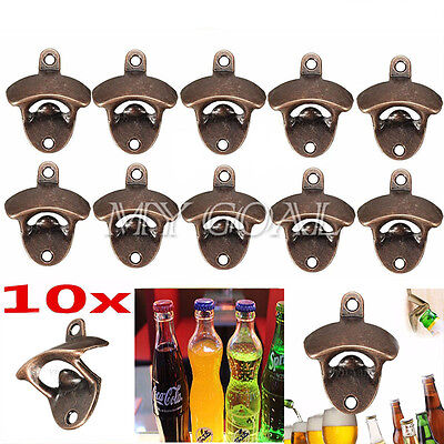 10x Red Bronze Bar Wine Iron Collectable Wall Mounted Beer CapTool Bottle Opener