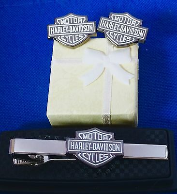 Harley Davidson Tie Clip With Matching Cufflinks
