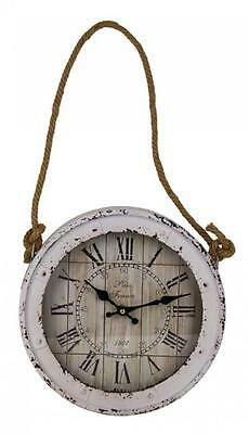 FRENCH PROVINCIAL Wall CLOCK Nautical 30cm HANGING ROPE Vintage Worn Rustic New