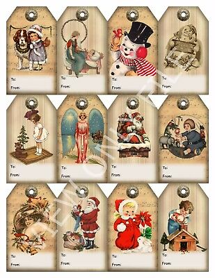 12 Christmas Vintage Art Hang Tags To/From Scrapbooking Paper Crafts (142)