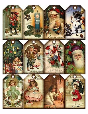 12 Christmas Vintage Art Hang Tags Scrapbooking Paper Crafts (17)