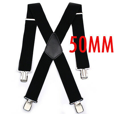 Unisex Black Suspenders Elastic Adjustable Clips Trouser Braces Heavy Duty Clips