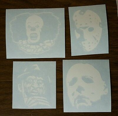 michael myers, pennywise, freddy krueger, jason voorhees decal stickers LOT of 4