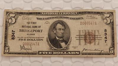 Series 1929 $5 National Currency 8347 First Bank of FNB Bridgeport IL E834E