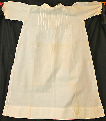 Beautiful Fine White Cotton Lawn Fabric Pintuck & Lace Victorian Style Baby Gown